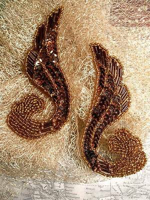 0123 Bronze Brown Swirl Mirror Pair Beaded Sequin Appliques ~ Crafts & Sewing