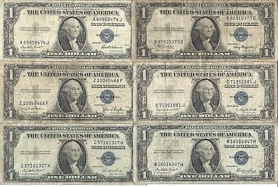 1935 $1 BLUE Seal SILVER Certificates! 6 Notes! Circs! Old US Paper Money!