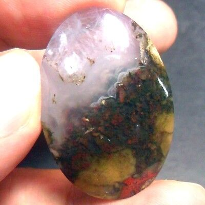 39ct AAA NATURAL Green Brown RED GARDEN MOSS AGATE ~3-dimensional PICTURE~