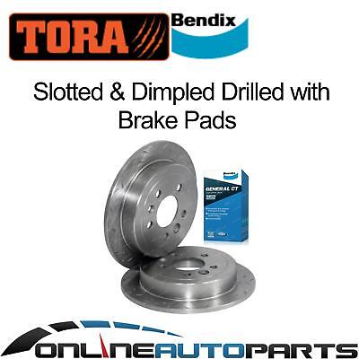 2 Rear Disc Rotors Drilled+Slotted Bendix Brake Pads Falcon AU 98-4/00 Series 1