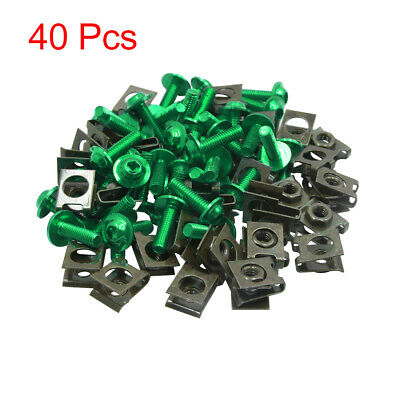 uxcell 10pcs Metal 6mm U-Type Rivets Motorcycle Fasteners Clips w Gold Tone Bolt Screw