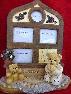Teddy Bear Table Photo Frame Collage of 3 New God Bless