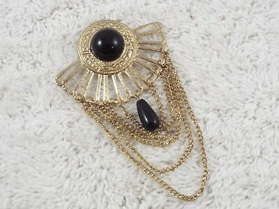 Goldtone Black Cabochon Drop Bead Chain Egyptian Revival Pin (C64)