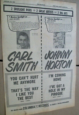 Carl Smith- You Can't Hurt Me Anymore/Johnny Horton- I'm Coming Home 1957 Ad
