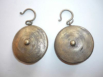 Beautiful Large Old Coin Silver Hill Tribe Miao Chinese Ethnic Minority Earrings