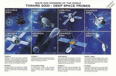 DEEP SPACE PROBES/Voyager/Mariner/Galileo/Viking Stamp Sheet (1997 Uganda)