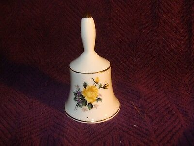 "4"" Yellow Rose With Gold Trim Ceramic - Porcelain Bell"