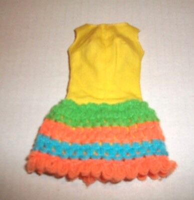 Vintage 1970 Mod Barbie #1454 Yellow Loop Scoop Dress Very Good Condition Tagged