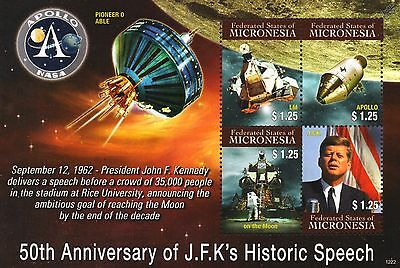 JFK KENNEDY Moon Speech/Apollo/Lunar M/Pioneer 0 Space Stamp Sheet (Micronesia)