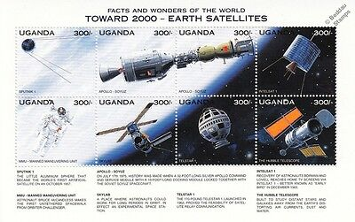 EARTH SATELLITES/Apollo-Soyuz/Skylab/Hubble/MMU Space Stamp Sheet (1997 Uganda)