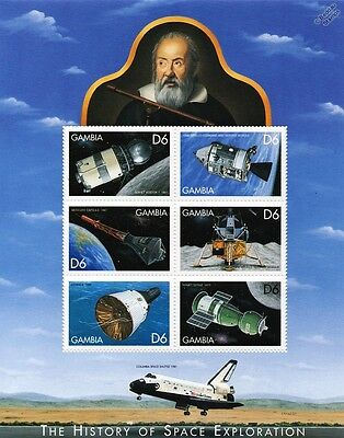 SPACE EXPLORATION Spacecraft/Shuttle/Satellites Stamp Sheet (1999 Gambia)