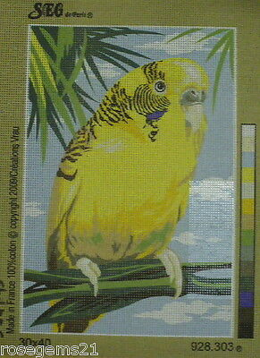 Yellow Budgie (Budgerigar) - TAPESTRY/NEEDLEPOINT CANVAS from SEG, Paris