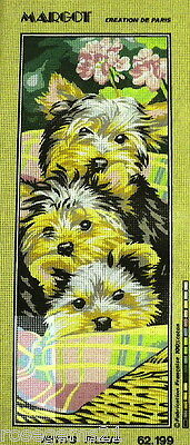 3 Terrier Pups - Tapestry/Needlepoint by SEG de Paris (New)