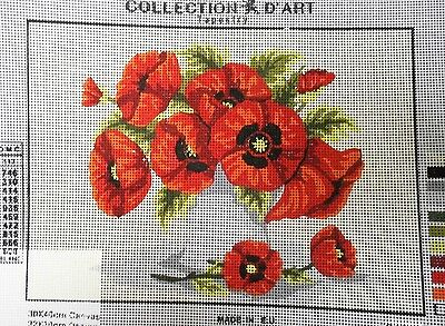 VASE OF RED/ORANGE POPPIES - Tapestry/Needlepoint Canvas (NEW) Collection D'Art