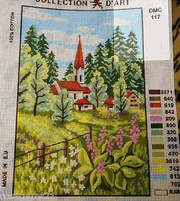 RED & WHITE CHURCH, BLOSSOMS - Tapestry to Stitch (NEW)