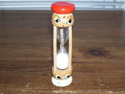 Vintage Norcrest Egg Timer Wood with Hand Painted Faces.. Rare!