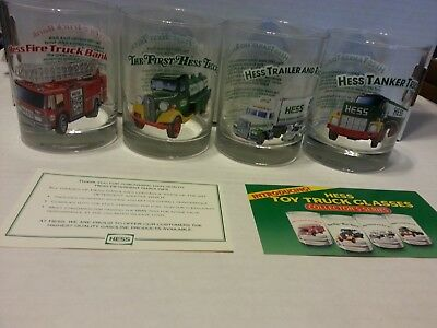 1996 Hess Classic Toy Truck Set of 4 Glass Tumblers Fresh from Cases