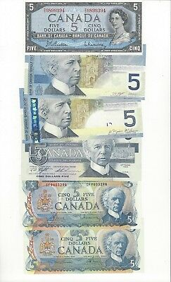 *1954 - 2006 *Bank of Canada, Set of Six Unc. $5 Notes 1954,72,79,86,02 & 06