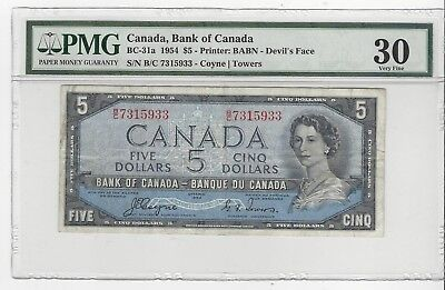 *1954*Bank of Canada BC-31a, $5 Coy/Tow SN B/C 7315933 PMG VF-30 Devil's Face