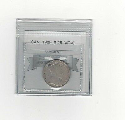 **1909**, Coin Mart Graded Canadian, 25 Cent, **VG-8**