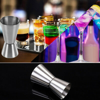 Stainless Steel 15/30ml Jigger Dual Shot Drink Spirit Cocktail Measure Cup NEW