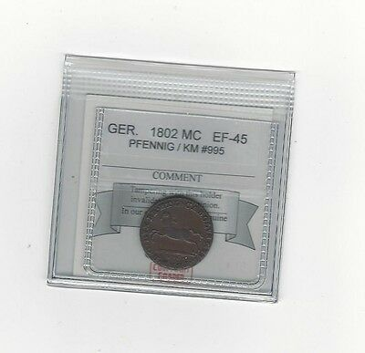 **1802**Germany, Pfennig, Coin Mart Graded**EF-45**KM# 995