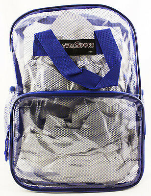 New Travel Sport Clear Back Pack Royal Blue Netting School Nascar Gym Original