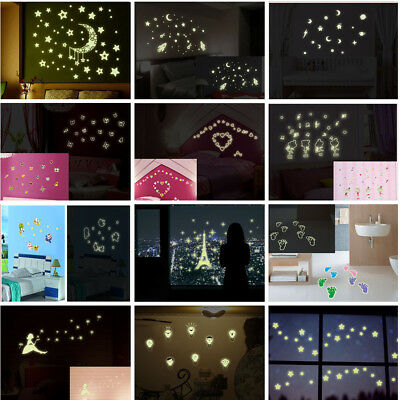 Glow In The Dark Stars Moon Wall Stickers Luminous Kids Baby Bedroom Ceiling DIY