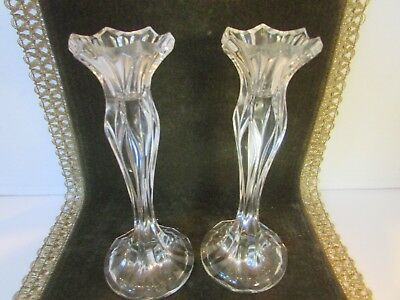 "Pair Of 8.5"" Tall Crystal Glass Taper Candlestick Holders Unknown Maker"