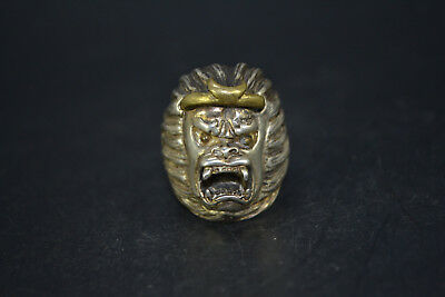 Vintage Collectible Old Tibet Silver carve Fierce Monkey King chinese Rare Ring