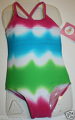 Circo Pink, White, Green & Blue One Piece Bathing Suit Swimsuit Size XSmall 4/5