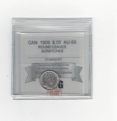 **1909 Round Leaves**,Coin Mart Graded Canadian,  5 Cent, **AU-50 Scratch**