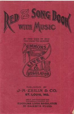 1900s Red Z Song Book w/Music Simmons Liver Regulator & Darby's Fluid Medical