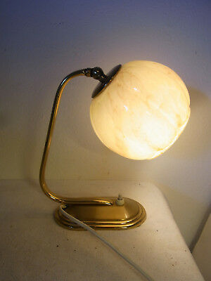 German Art Deco Bauhaus Glass Brass Desk Nightstand Bedside Lamp #<