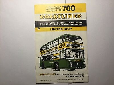 Stagecoach 700 Coastliner By Southdown Limited Stop Timetable Lflt Aug 1982