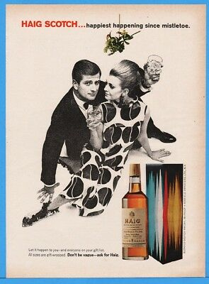 1967 Haig Scotch Happiest Happening Since Mistletoe Couple Christmas Print Ad