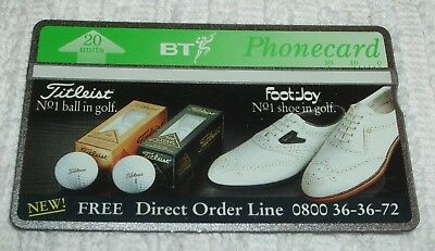 Bt Phonecards  ** Job Lot Of 2 Titleist And Footjoy ** Golfing Style Phone Cards
