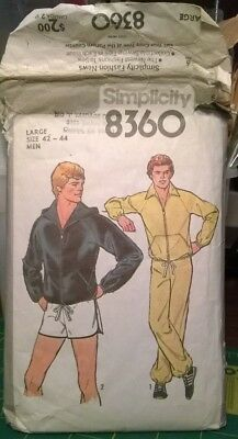 SIMPLICITY 8360 MEN'S SIZE LARGE (c)1977 JACKET PANTS CLOTHES SEWING PATTERN
