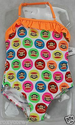 Paul Frank White with Monkey One Piece Bathing Suit Swimsuit Size 4 NWT