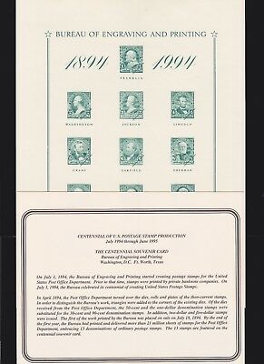 US 1995 BEP Centennial of US Postage Stamps Souvenir Card # B197