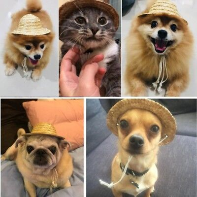 Pet Dog Cat Funny Straw Sombrero Hat Adjustable Caps Party Costume  Accessories c7540973f07b
