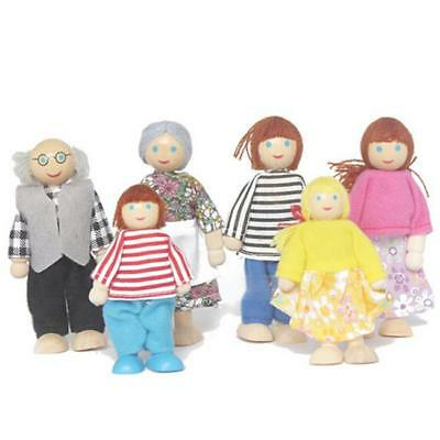 Wooden Furniture Dolls House Family Miniature 6 People Doll Toy For Kid Child LG