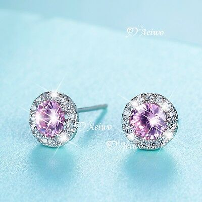925 sterling silver made with Swarovski crystal stud earrings round pink 0.5ct