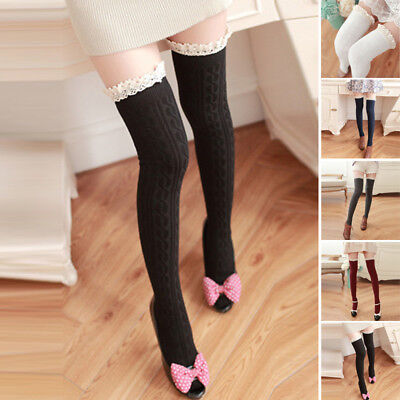 Womens Over The Knee Thigh High Long Socks Lace Knit Cotton Warm Girls Stocking