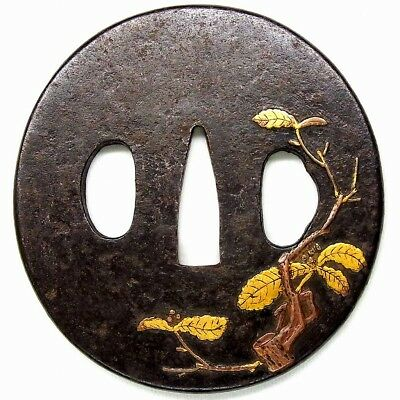FINE Tree TSUBA 18-19thC Japanese Edo Antique for Koshirae f276