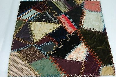 Antique Crazy Quilt Section Embroidered Stitching Study C8