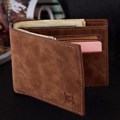 Mens Slim PU Leather Bifold Wallet Thin ID Credit Card Holder Mini Money Case LG