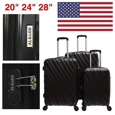 GLOBALWAY 3 Pcs Luggage Travel Set Bag ABS Trolley Suitcase Hard Shell Black