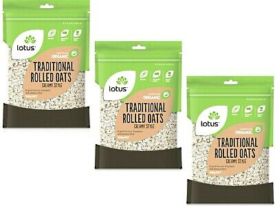 3 x 500g LOTUS Organic Traditional Rolled Oats Creamy Style ( 1.5kg )