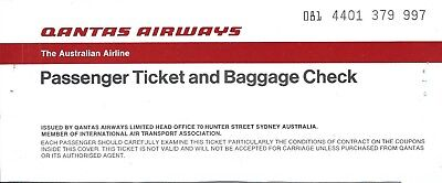 Airline Ticket - QANTAS - 4 Flight Format - 1982 (T455)